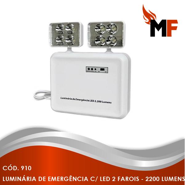 *Iluminação de Emergência com Led 2 Farois - 2200 Lumens
