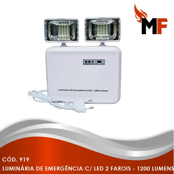 *Iluminação de Emergência com Led 2 Farois - 1200 Lumens
